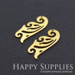 8pcs Raw Brass Curve Ruler Charm Pendant Fit For Necklace Earring Brooch RD212