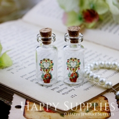 4pcs 35x16mm Wreath People Handmade Photo Glass Tiny Bottle Vials Pendants PB-M01