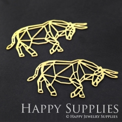 4pcs Raw Brass Cow Charm Pendant Fit For Necklace Earring Brooch RD109
