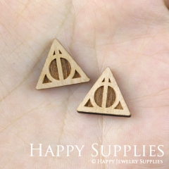 4pcs DIY Laser Cut Wooden Deathly Hallows Symbol Charms SWC144