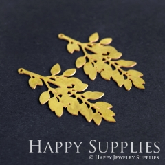 4pcs Raw Brass Leaf Charm Pendant Fit For Necklace Earring Brooch RD199