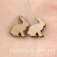 4pcs DIY Laser Cut Wooden Rabbit Charms SWC29