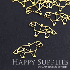 10pcs Raw Brass Dog Charm Pendant Fit For Necklace Earring Brooch RD075