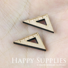 4pcs DIY Laser Cut Wooden Triangle ruler Charms SWC112