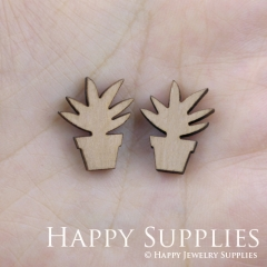 4pcs DIY Laser Cut Wooden Potted Charms SWC58