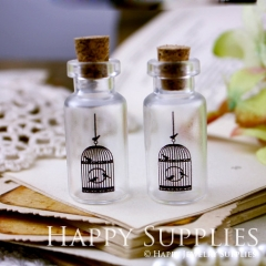 4pcs 35x16mm Birdcage Handmade Photo Glass Tiny Bottle Vials Pendants PB-M06