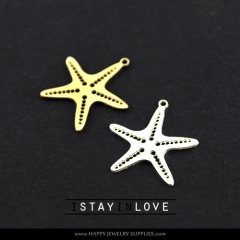 2pcs Starfish Charm Pendant Fit For Necklace Earring Brooch GDSD036