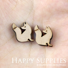 4pcs DIY Laser Cut Wooden Fox Charms SWC138