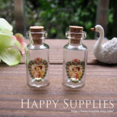 4pcs 35x16mm Angles Handmade Photo Glass Tiny Bottle Vials Pendants PB-M02