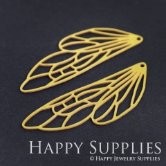 4pcs Raw Brass Dragonfly Wing Charm Pendant Fit For Necklace Earring Brooch RD187