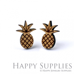 4pcs DIY Laser Cut Wooden Pineapple Charms SWC151