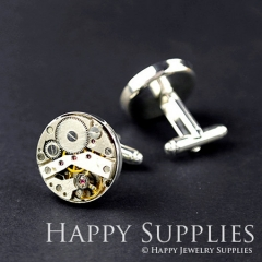 2Pcs (1 Pair) 20MM Antiqued Silver Cuff Links With Watch Mechanical Parts (ZL38-S)