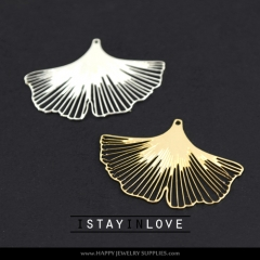 1pcs Gingko Brass Charm Pendant Fit For Necklace Earring Brooch GDSD028