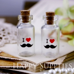 4pcs 35x16mm I LOVE YOU Handmade Photo Glass Tiny Bottle Vials Pendants PB-M04