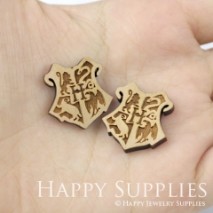 4pcs DIY Laser Cut Wooden Hogwarts Crest Patch Harry Potter Charms SWC153