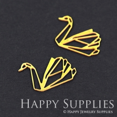 10pcs Raw Brass Swan Charm Pendant Fit For Necklace Earring Brooch RD094 Without Loop