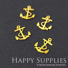 10pcs Raw Brass Anchor Charm Pendant Fit For Necklace Earring Brooch RD043