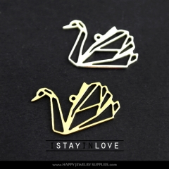 2pcs Swan Charm Pendant Fit For Necklace Earring Brooch GDSD074