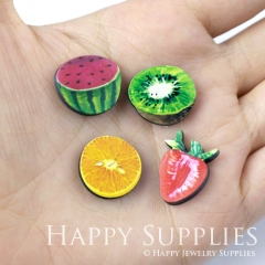 4pcs DIY Laser Cut Photo Wooden Watermelon Kiwi Strawberry Lemon Charms
