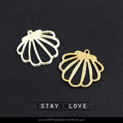 2pcs Shell Charm Pendant Fit For Necklace Earring Brooch GDSD031