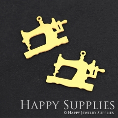 6pcs Raw Brass Sewing Machine Charm Pendant Fit For Necklace Earring Brooch RD134