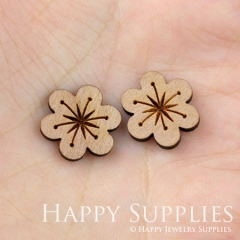 4pcs DIY Laser Cut Wooden Flower Charms SWC26