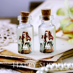 4pcs 35x16mm Alice in Wonderland Handmade Photo Glass Tiny Bottle Vials Pendants PB-M15