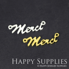 2pcs Merci Charm Pendant Fit For Necklace Earring Brooch GDSD181