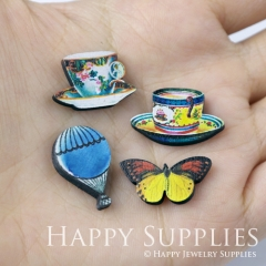 4pcs DIY Laser Cut Photo Wooden Cup Hot air balloon Butterfly Charms