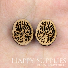 4pcs DIY Laser Cut Wooden Brain Charms SWC35
