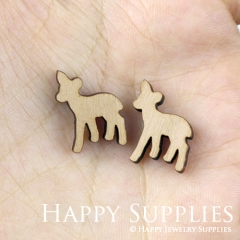 4pcs DIY Laser Cut Wooden Deer Charms SWC120