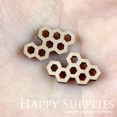 4pcs DIY Laser Cut Wooden Honeycomb Charms SWC128
