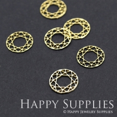 10pcs Raw Brass Round Charm Pendant Fit For Necklace Earring Brooch RD221