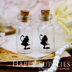 4pcs 35x16mm Alice in Wonderland Handmade Photo Glass Tiny Bottle Vials Pendants PB-M27