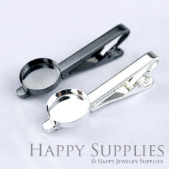 2pcs Nickel Free Tie Clip With 16mm Round Pad (XJ166)