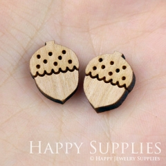 4pcs DIY Laser Cut Wooden Pine Cones Charms SWC08