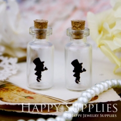 4pcs 35x16mm Alice in Wonderland Handmade Photo Glass Tiny Bottle Vials Pendants PB-M29