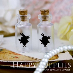 4pcs 35x16mm Alice in Wonderland Handmade Photo Glass Tiny Bottle Vials Pendants PB-M30
