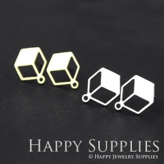 1pair Hexagon Golden Silver Brass Earring Post Finding With Ear Studs Back Stoppers ZEN006