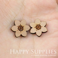 4pcs DIY Laser Cut Wooden Flower Charms SWC25
