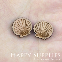 4pcs DIY Laser Cut Wooden Shell Charms SWC86