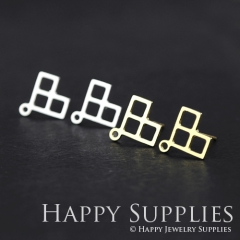 1pair Geometry Golden Silver Brass Earring Post Finding With Ear Studs Back Stoppers ZEN002
