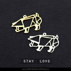 2pcs Pig Charm Pendant Fit For Necklace Earring Brooch GDSD066