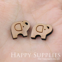 4pcs DIY Laser Cut Wooden Elepant Charms SWC15