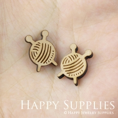 4pcs DIY Laser Cut Wooden Ball of yarn Charms SWC149