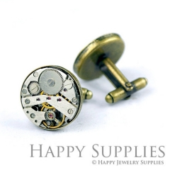 2Pcs (1 Pair) 20MM Antiqued Bronze Cuff Links With Watch Mechanical Parts (ZL38-B)