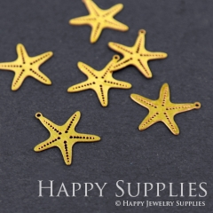 10pcs Raw Brass Starfish Charm Pendant Fit For Necklace Earring Brooch RD036