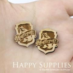 4pcs DIY Laser Cut Wooden Hufflepuff Crest Patch Harry Potter Charms SWC155