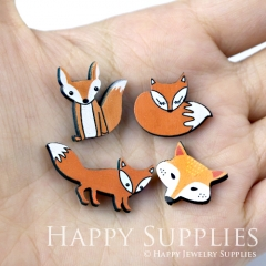 4pcs DIY Laser Cut Photo Wooden Lovely Fox Charms