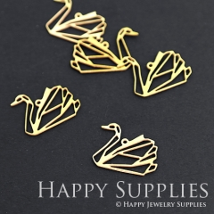 10pcs Raw Brass Swan Charm Pendant Fit For Necklace Earring Brooch RD074